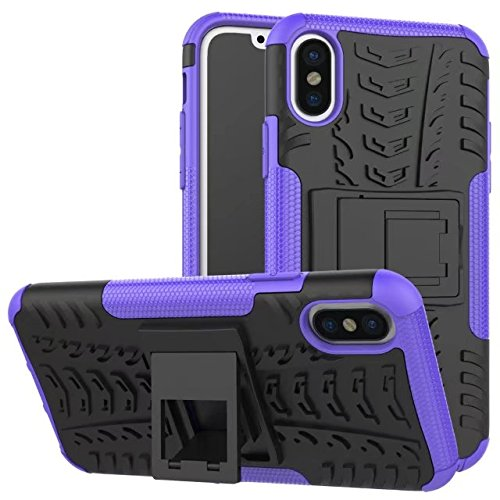 iPhone X Coque, Lantier Shockproof Impact Protection Tough Hard Rugged Heavy Duty Dual Layer Protective Case with Kickstand pour Apple iPhone X (5.8 inch) Red Violet