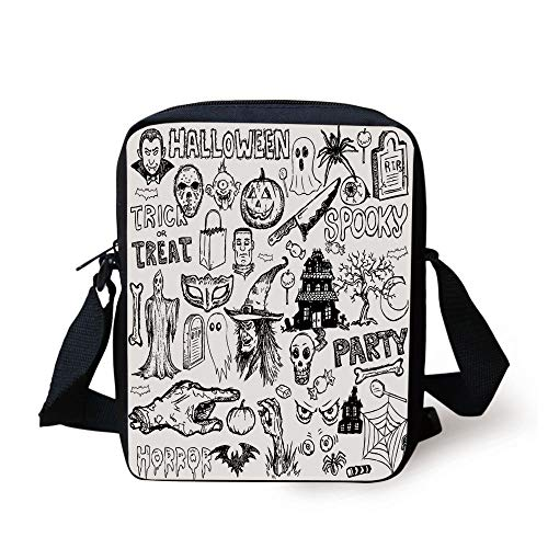 Vintage Halloween,Hand Drawn Halloween Doodle Trick or Treat Knife Party Severed Hand Decorative,Black White Print Kids Crossbody Messenger Bag Purse
