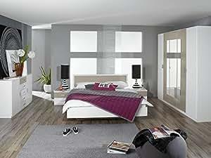Matelpro-Chambre adulte design coloris blanc/beige Plaza-180 x 200 cm