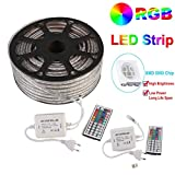 GreenSun LED Lighting 50m LED Lichtband Streifen Strip 60LEDs/m RGB SMD 5050 Lichterkette mit 720W 44 Tasten Fernbedienung Empfänger Stromkabel wasserdicht IP65 Lichtschlauch