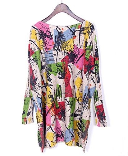 Smile YKK Rundhals Oversize Damen Langarmshirt Sweatershirt Lose Hemd Bluse Langshirt Pullover Pulli Langärmelig Aprikose