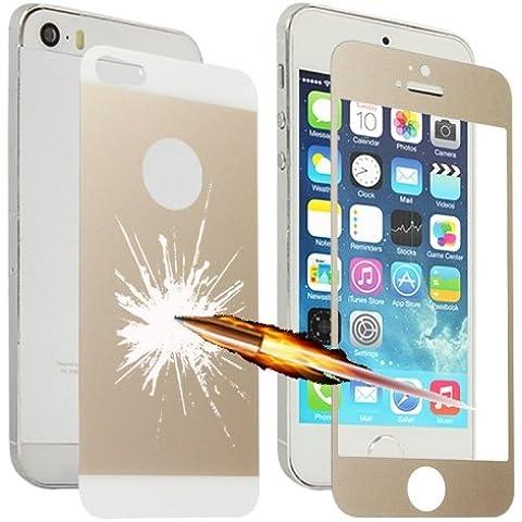 iPhone 5/5S película antigolpes cristal templado 0,3mm dorado LOPURS explosión delantero/trasero