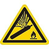 Warnzeichen W029 - Warnung vor Gasflaschen - Seitenlänge 100 mm - 2 Warnschilder aus Vinyl Folie, gelb, permanent haftend