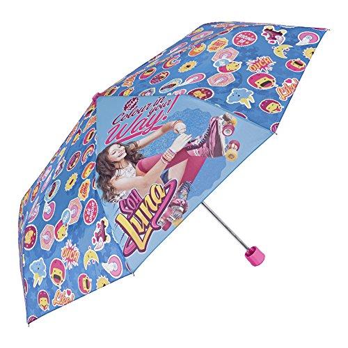 Kinder Schirm Disney Soy Luna für Mädchen - Taschenschirm mit Zeichnungen - Leichter Kompakter und Windfester Regenschirm - Durchmesser 91 cm - Hellblau und Rosa - Perletti
