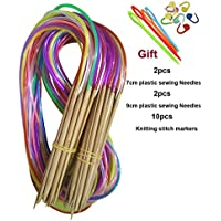Tmade 18 Paires 120cm Aiguilles à Tricoter Circulaires en Carbonisé bambou à double pointe Crochet Différentes Tailles 2.0-10.0 mm