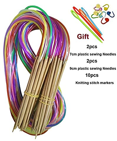 Tmade 18 Pairs 60cm Carbonized Bamboo Circular Knitting Needles 2.0mm to 10.0mm with Colorful Plastic Tube Yarn Weave Craft Knit