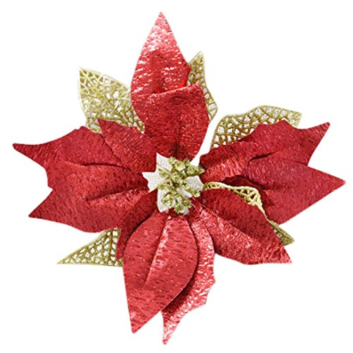 Weihnachtsbaum Dekorationen Künstliche Blumen,SuperSU Glitzer Weihnachtsstern Halloween Ornament Weihnachtsornament Bowknot Weihnachts für Hochzeiten Fake Bouquet House Weihnachten Decor (Rot)