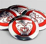 jinyuyuanshangmao 56mm Red Growler Jaguar Emblemi a Forma di Cerchi Centro Ruota Adesivi per stagnole Adesivi x4