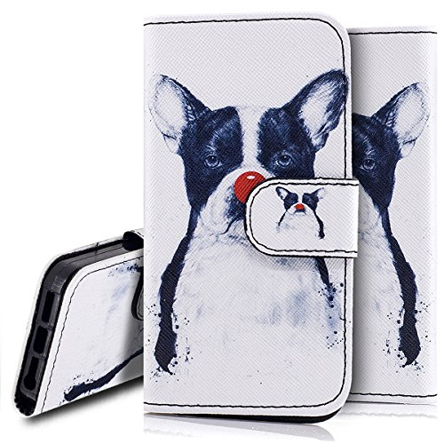 Custodia iPhone 5S cover iPhone 5 case iPhone SE,Ukayfe Stitching Colore Flip Case Cover per iPhone 5S,iPhone 5 iPhone 5S iPhone SE Lussuosa Astuccio Custodia Cover [PU Leather] [Shock-Absorption] Pro Cane Pagliaccio 2#