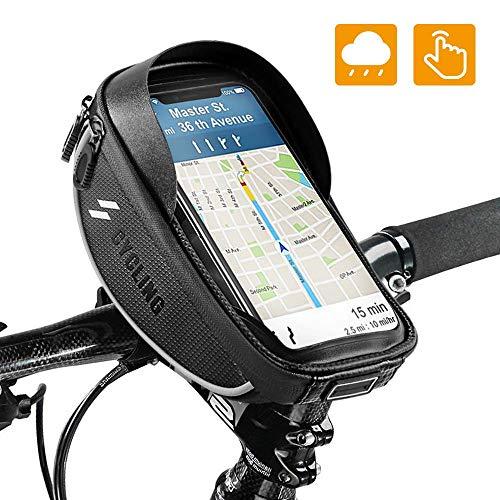 OUNDEAL Bolsa Bicicleta Cuadro, Impermeable Bolso Manillar Bici con Pantalla Táctil Sensible, iPhone...