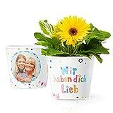 Facepot Geschenk für Oma, Uroma oder Mama - Blumentopf (ø16cm) mit Bilderrahmen für zwei Fotos (10x15cm) | Wir haben Dich lieb