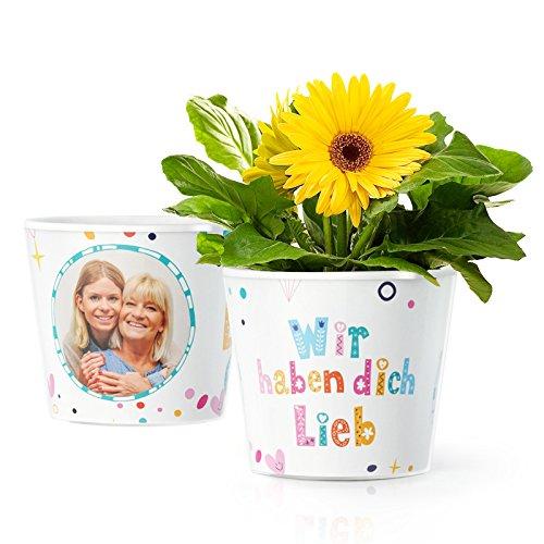 Facepot Geschenk für Oma, Uroma oder Mama - Blumentopf (ø16cm) mit Bilderrahmen für Zwei Fotos (10x15cm) | Wir haben Dich lieb (Blumentopf Menschen)