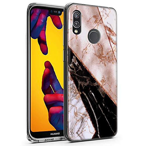 CLM-Tech Huawei P20 Lite Hülle, TPU Silikon-Hülle Case Marmor Mehrfarbig Schutzhülle für Huawei P20 Lite Handyhülle