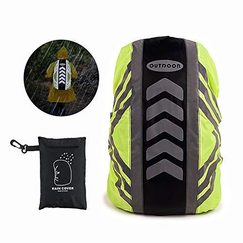 Komake Regenschutz für Rucksack, Regenhülle Regenschutz für Schulranzen Schulrucksack Ranzen, Regenschutzhülle, Rucksackschutz mit Reflektorstreifen für Wandern, Camping, Radfahren - Black