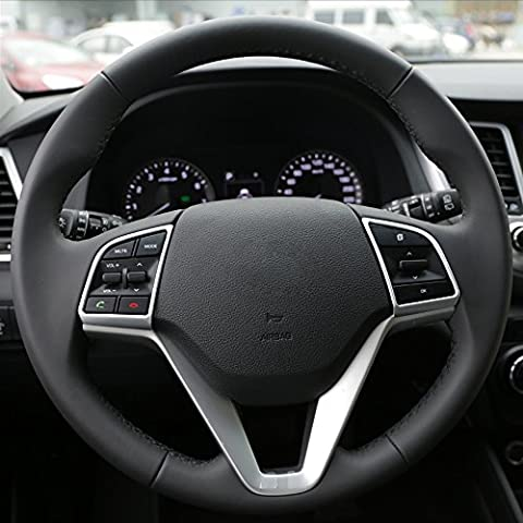 2 x Car Steering Wheel Sequins Switch Cover Interior Decorative Trim For Hyundai Tucson 3rd 2015+ 2016 ABS Accessories