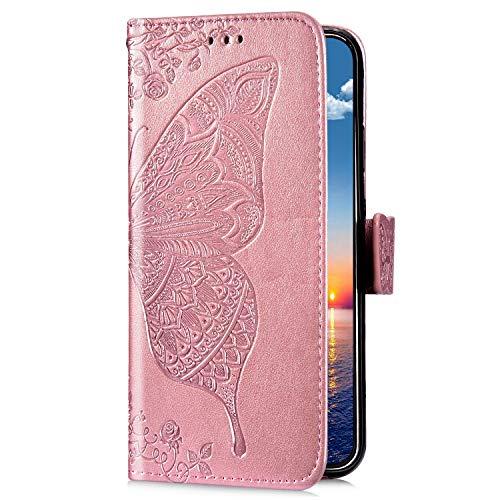 Uposao Kompatibel mit Samsung Galaxy M20 Handyhülle Schutzhülle Retro Schmetterling Blumen Muster Leder Hülle Brieftasche Klapphülle Wallet Flip Case Tasche Magnet Kartenfächer,Rose Gold