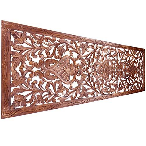 Orientalische Holz Ornament Wanddeko Azara 183cm gross XXL | Orientalisches Wandbild Wanpannel in Braun als Wanddekoration | Vintage Relief als Dekoration im Schlafzimmer oder Wohnzimmer -