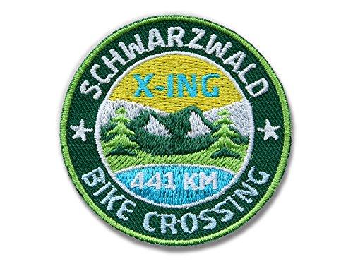 Club-of-Heroes 2er-Pack Stick-Abzeichen 52 mm rund/Schwarzwald Bike-Crossing, Mountainbike X-ing/Applikation Aufnäher Aufbügler Flicken Bügelbild Logo Patch für...