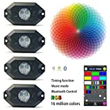 Kail 9 W 4 Pods Multicolor Neon LED-Licht-Kit RGB LED Rock Leuchten mit Bluetooth Controller Timing Funktion Musik Modus