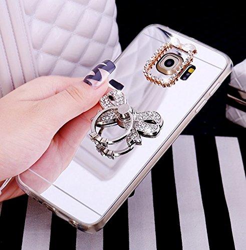 Galaxy S7 Hülle,Galaxy S7 Silikon Hülle Glitzer,Galaxy S7 Schutzhülle,JAWSEU Kristall Diamant Spiegel Handy Silikon Hülle TPU Back Case Schutzhülle für Samsung Galaxy S7 Silikon Hülle mit Glitzer Stra Bowknot Silber