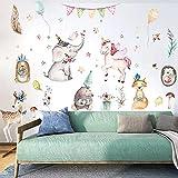 WandSticker4U- Wandtattoo Kinderzimmer WALD PARTY | Aquarell Wandbild: 112x76 cm | Wandaufkleber Tiere Elefant Einhorn Fuchs Reh Ballon Hase Sterne Poster | Wanddeko für Babyzimmer Mädchen Kinder Baby