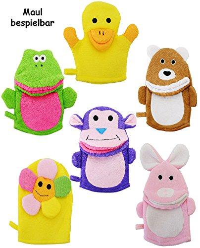 alles-meine.de GmbH 1 Stück _ Waschhandschuh / Handpuppe -  lustige Tiere  - Mund teilw. bespielbar - für Kinder & Erwachsene - Handspielpuppe / Waschhandschuhe - Handpuppen - ..