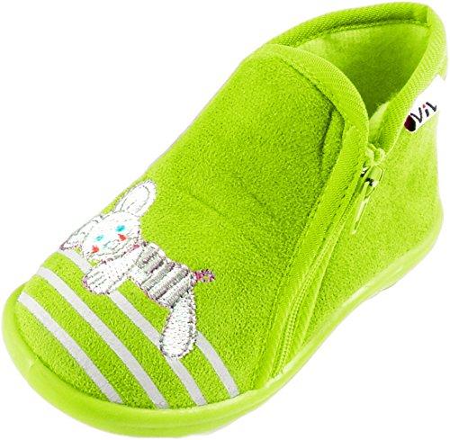 Kinder Hausschuh hohe Hausschuhe mit rutschfester Sohle und Reissverschluss - Maus Grün