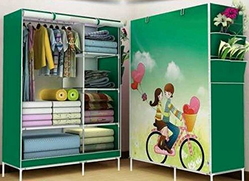 jk ancy and Portable Foldable Closet Wardrobe Cabinet Portable Multipurpose Clothes Closet Portable Wardrobe Storage Organizer with Shelves 5.5 Feet Folding Wardrobe colour as image
