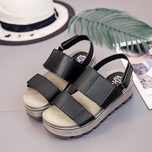 Lgk & fa estate sandali da donna estate di spessore inferiore versione coreana semplice sandali studenti a fondo piatto scarpe Black