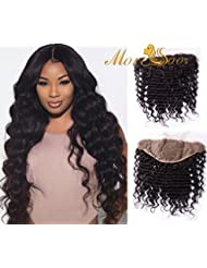 Moresoo Lace Frontal Deep Wave Brazillian Virgin Hair Curly 134 Inch Size Ear To