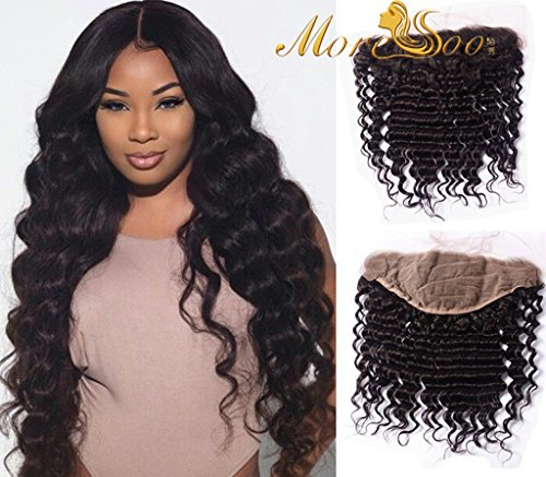 Moresoo 100% veri capelli vergini brasiliani chiusura lace frontal mosse/deep wave 13*4 nero naturale 1b capelli umani hair extensions 8 pollice