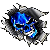 Classic Carbon Rip Ripped Torn Metal Design With Electric Blue Flames Gothic Skull Motif Vinyl Car Sticker Decal 105x130mm