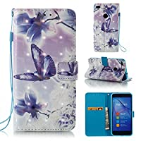 HUAWEI P8 Lite 2017 Case, Iddi-Case Fashion Cute Pattern Luxury Pu Leather Wallet Magnetic Design Flip Folio Protective Case Cover with Card Holder - Blue Butterfly