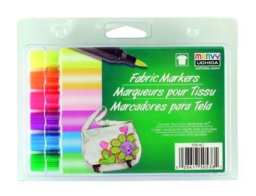 Sechs Color Fluorescent-set (Uchida 530-6C Marvy Brush Tip Fluorescent Color Fabric Marker Set by UCHIDA)