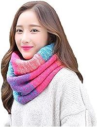 heekpek Écharpe tricotée chaude d hiver de cou de femmes, foulard de cercle  pour des dames de femmes filles, écharpe bleue grise   rouge… 4bb34648624