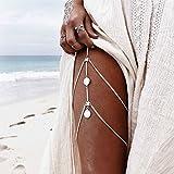 NAYUKY Cadenas Calientes Sexy Leg Monedas Colgante de Cruce arnés de Cintura Correa de Cadena de joyería de la Vendimia del Bikini del Muslo de la Pierna Cadenas Cuerpo