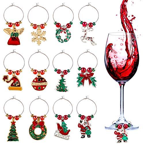 ZOYLINK Wein Charms, 12 Stücke Glasmarkierer Wine Charms Glasanhänger Weinglas Charms Ringe Weinglas Maker Ohrringe für Party Favors Weihnachtsfeier Familientreffen Bar Tischdekorationen