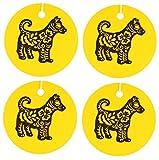 Eclectic Lady Set von vier chinesischen tierzeichen hund luftverbesserer kamille gelb