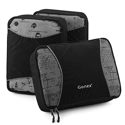 Gonex Organiseurs de bagage Sacs rangement de valise Voyage 3 pcs Noir