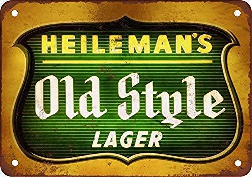 CDecor Heileman's Old Style Lager Blechschilder, Metall Poster, Retro Warnschild Schilder Blech Blechschild Malerei Wanddekoration Bar Geschäft Cafe Garage Old Style Bier