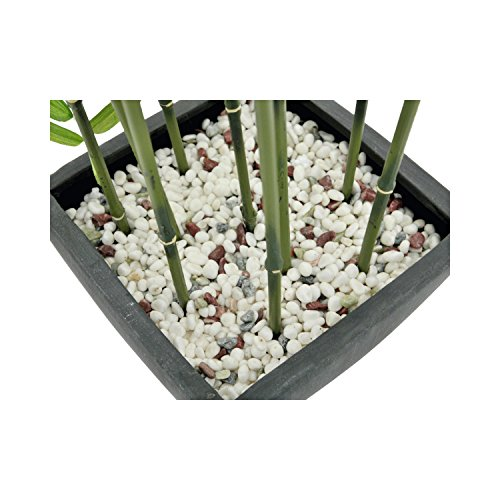 artplants Künstlicher Bambus in Dekoschale, dunkle Kunststämme, 120 cm – Bambus im Topf/Kunstpflanze Bambus