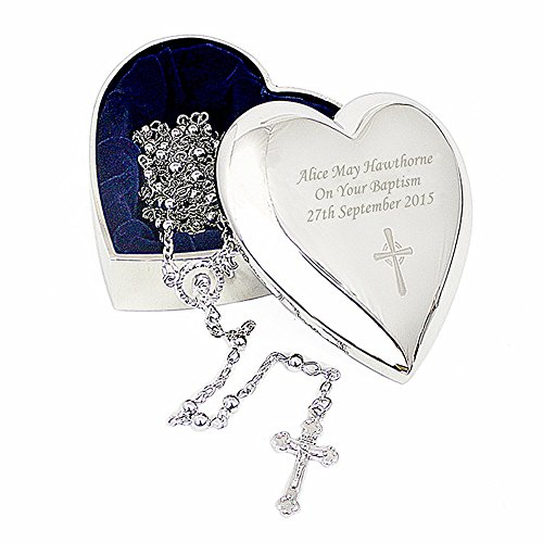 Rosary Beads and Personalised Trinket Box ~ Cross Motif Heart Shaped Trinket Box, Keepsake Gift