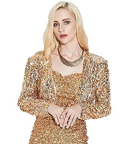 NiSeng Womens Glitter Sequins Long Sleeve Blazers Bolero Shrugs Cropped Jackets Cardigan Gold