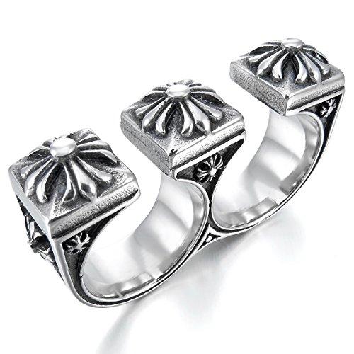 Große Ton (MunkiMix Groß Schwer Edelstahl Ring Silber Ton Schwarz Keltisch Mittelalterlich Mittelalter Kruzifix Kreuz Größe 62 (19.7) Herren)