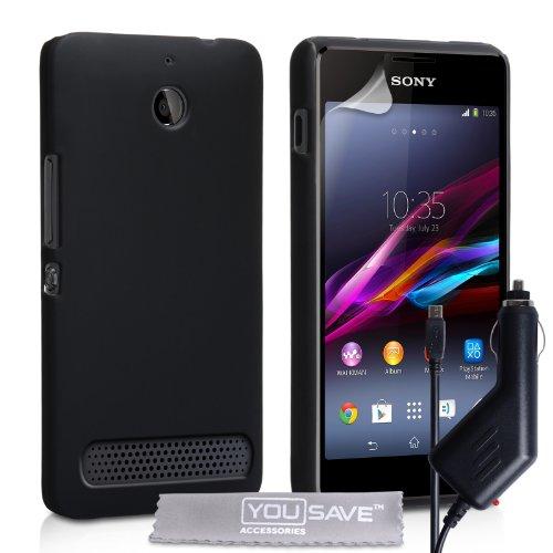 Yousave Accessories® Cover per Sony Xperia E1 Custodia Duro Ibrido Nero con Caricabatteria da Auto