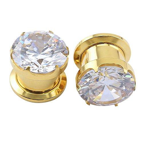 ZeSen Jewelry Herrliche Big Zirkonia Edelstahlschraube Tunnel-Ohr-Expander-Keilrahmen Piercing Ohr Gauges (2) Gauge = 6g (4mm) Gold (Ohr 4 Gauge)