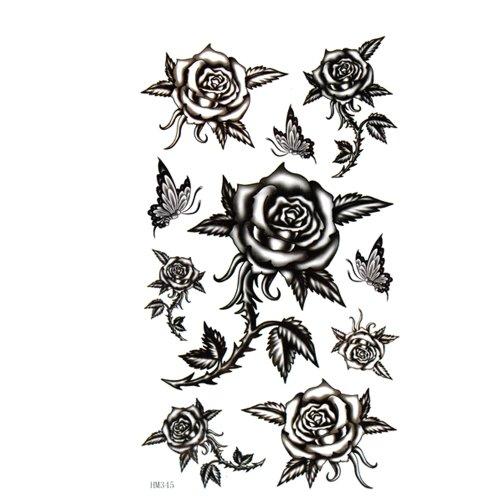 GGSELL King Horse Tattoo-Aufkleber ist wasserdicht und Schweiß weiblichen schwarzen Stacheldraht Rosen Schmetterling sexy