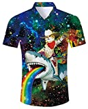 Goodstoworld Colorido Camisa para Hombre Casual Holiday Shirts 3D Funky Animal Tropical Azul Estampado Summer Island Regular Fit Camisa XXL
