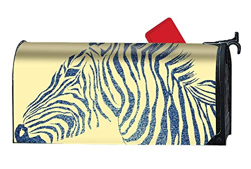 prz0vprz0v Animal of Jeans Zebra Halloween Kitten Magnetic Mailbox Cover O'Lantern Holiday 21 x 18 Inches Waterproof Canvas Mailbox Cover -