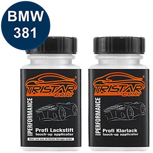 Preisvergleich Produktbild Autolack Lackstift Set BMW 381 Lemansblau Metallic / Lemans Blue Metallic Basislack Klarlack je 50ml